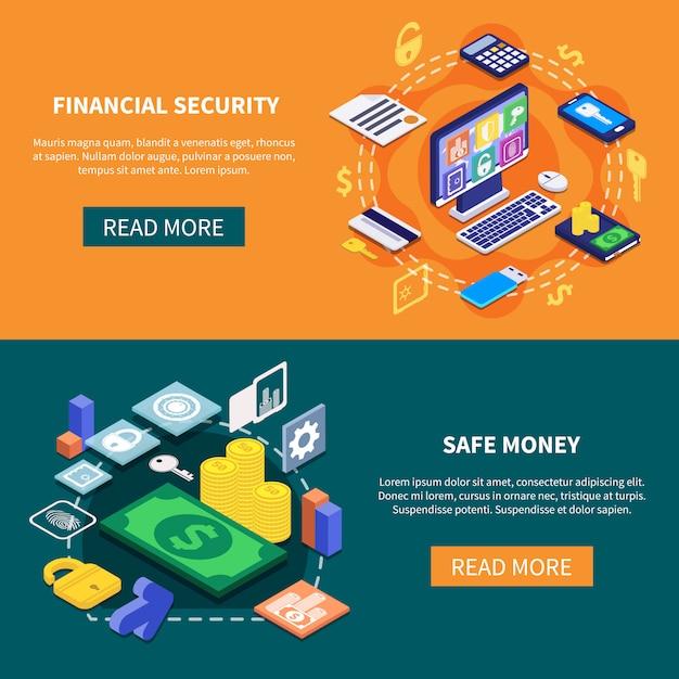 Banner di sicurezza finanziaria Vettore gratuito