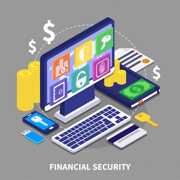 Financial security illustration Free Vector