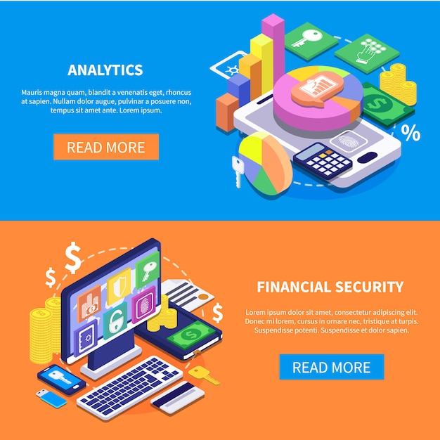 Financial security isometric banners Free Vector