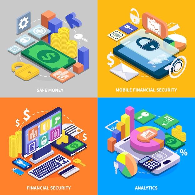 Financial security isometric set Free Vector