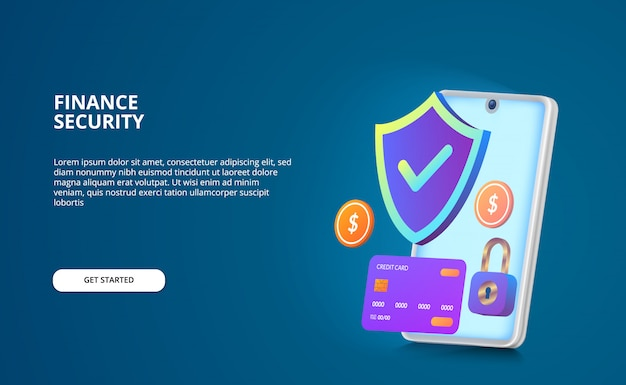 Financial security payment concept. modern illustration with glow screen and gradient color. shield, padlock, coin, credit card 3d with smartphone Premium Vector