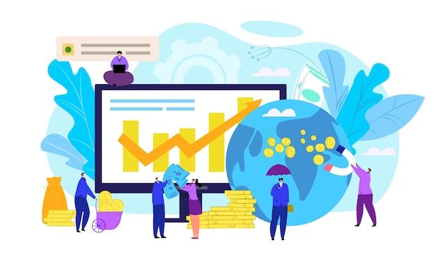 金融株式市場の概念、イラスト。 exchangeトレーダーデスク、人々の監視、財務指標データのオンライン予測。ダイアグラムと取引株式市場チャート分析。 Premiumベクター