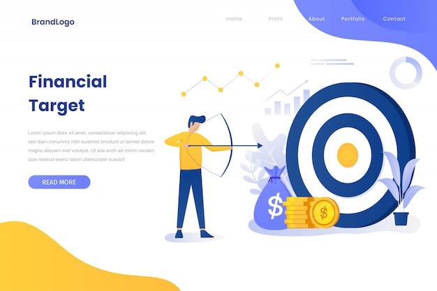 Financial target illustration concept landing page Premium Vector