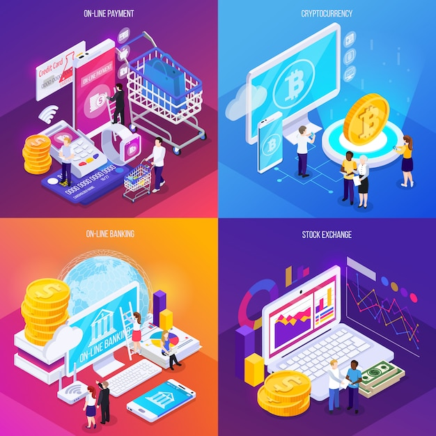 Financial technology isometric concept electronic payment crypto currency online banking stock exchange isolated Free Vector