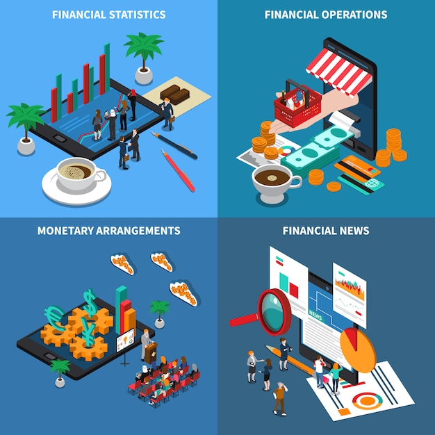 Financial technology isometric Free Vector