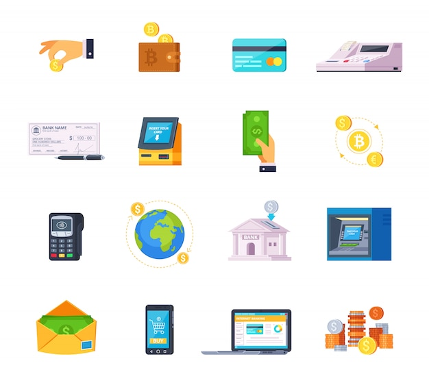 Financial technology orthogonal flat icons set with credit cards online banking and automated teller machine Free Vector