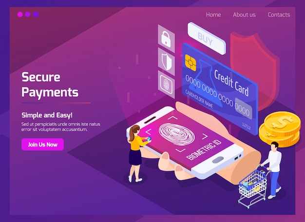 Financial technology secure payments isometric web page with glow and interface elements on purple Free Vector