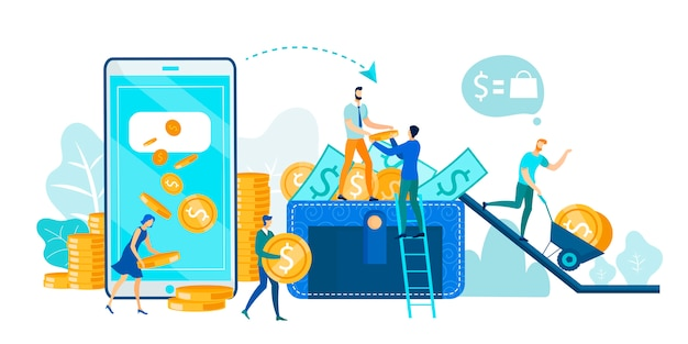 Financial transaction, mobile banking on phone Premium Vector