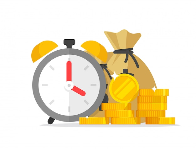 Financial waiting or transaction payment deadline with money clock timer Premium Vector