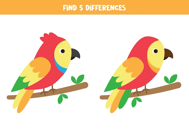 Find 5 differences. two cute cartoon parrots. Premium Vector