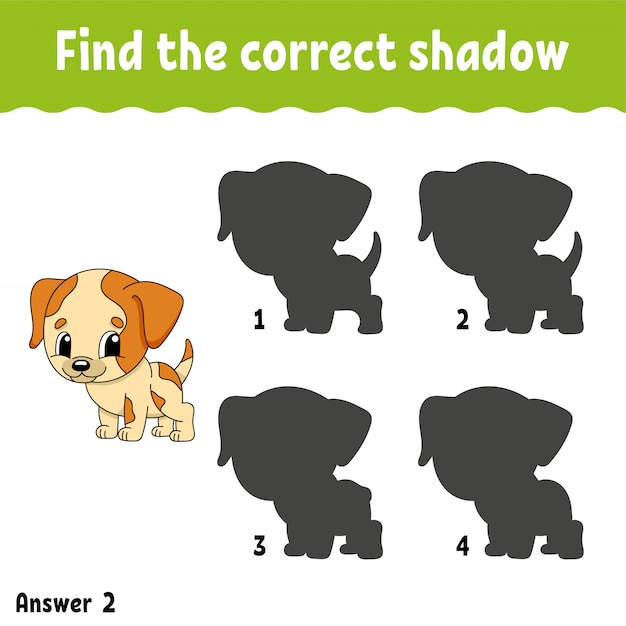 Find the correct shadow. draw a line. education developing worksheet. Premium Vector