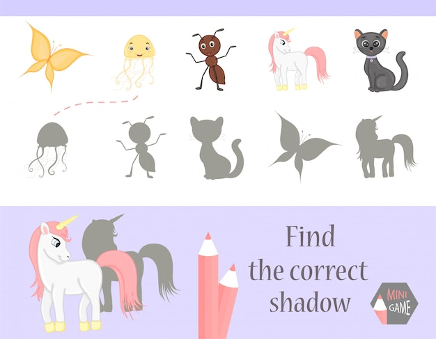 Find the correct shadow, education game for children. cute cartoon animals and nature. vector illustration Premium Vector