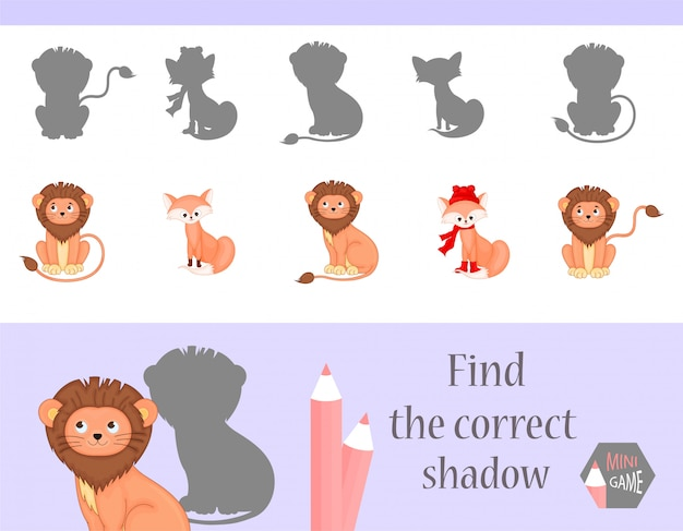 Find the correct shadow, education game for children Vector