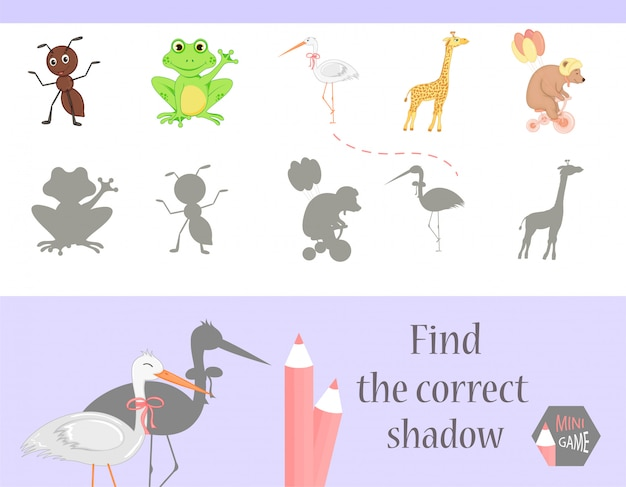Find the correct shadow, education game for children Premium Vector