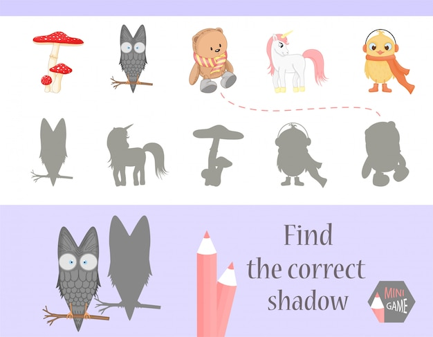 Find the correct shadow, education game for children. Premium Vector