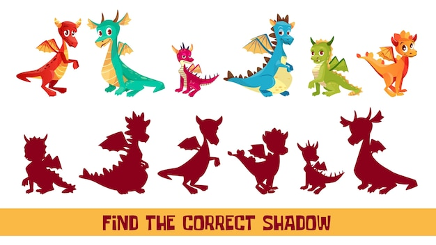 Find correct shadow kid puzzle illustration. Cartoon children quiz game to match shadow  Free Vector