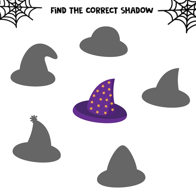 Find the correct shadow. set of cute hats. educational game for kids. printable worksheet for halloween Premium Vector
