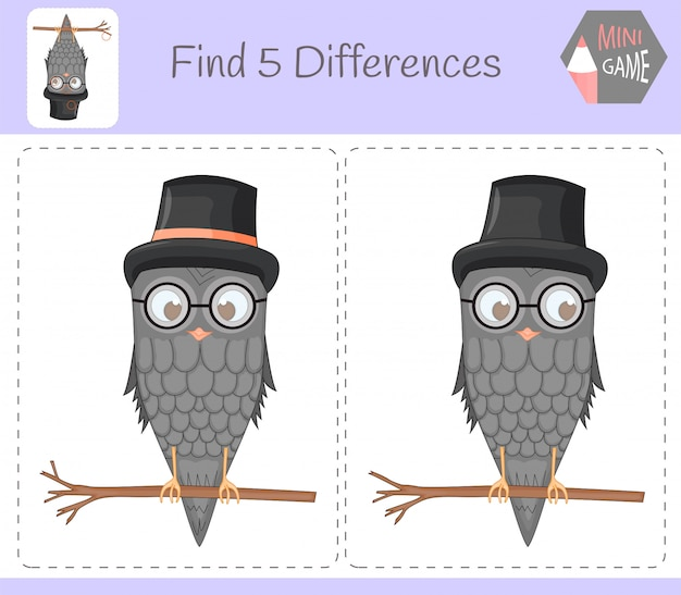 Find differences, education game for children Premium Vector