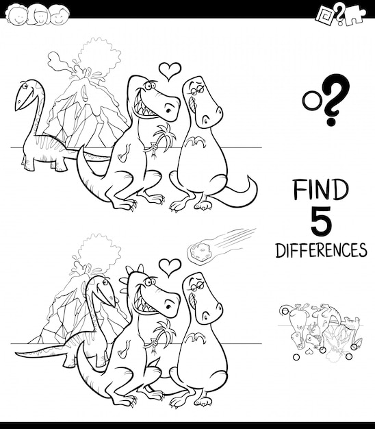 Find differences game activity color book Premium Vector