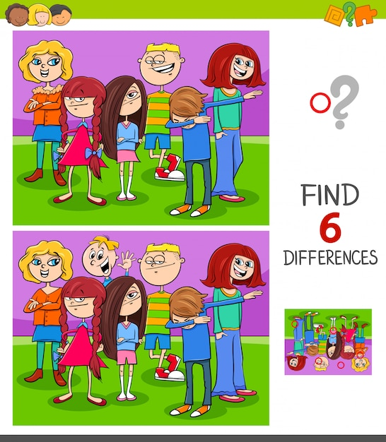 Find differences game with kids group Premium Vector