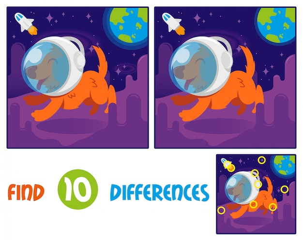 Find differences logic education interactive game for children. cute smile orange dog in space suit helmet first astronaut which. run on another planet or galaxy open space with stars blue earth Premium Vector