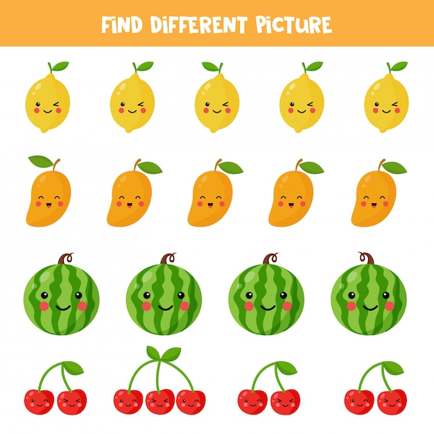 Find different kawaii fruit picture in each row. educational logical game for kids. printable worksheet for preschoolers. Premium Vector