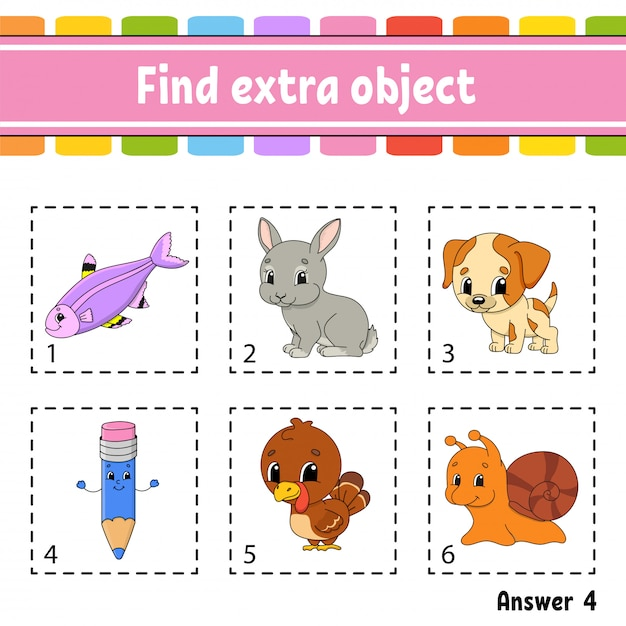 Find extra object. educational activity worksheet for kids and toddlers. game for children. Premium Vector