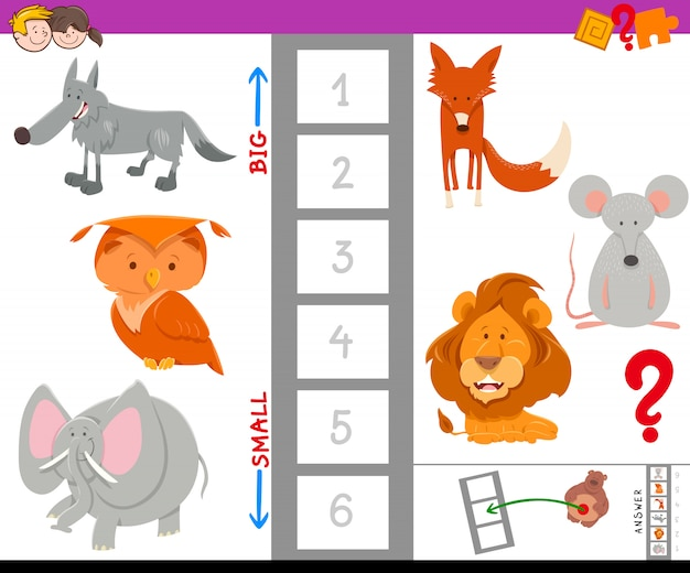 Find the largest and the smallest animal Premium Vector