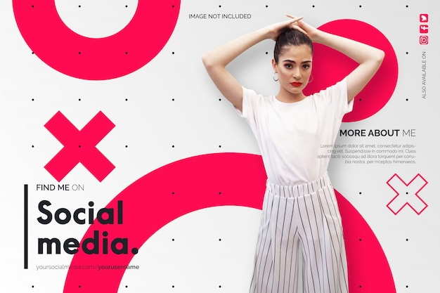 Find me on social media background in white and red Free Vector