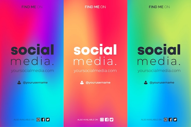 Find me on social media gradient insta stories templates set Free Vector