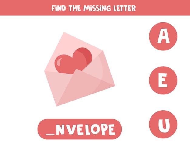 不足している文字を見つけます。ハートのかわいい漫画バレンタイン封筒。子供のための教育的なスペリングゲーム。 Premiumベクター