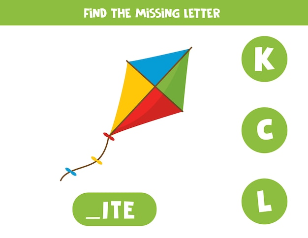 Premium Vector Find Missing Letter. English Grammar Game For Preschoolers.  Spelling Worksheet For Kids With Cute Cartoon Toy Kite.