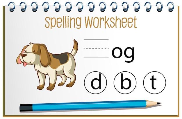 Find missing letter with dog Free Vector