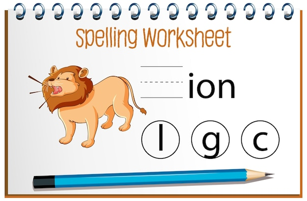 Find missing letter with lion Free Vector