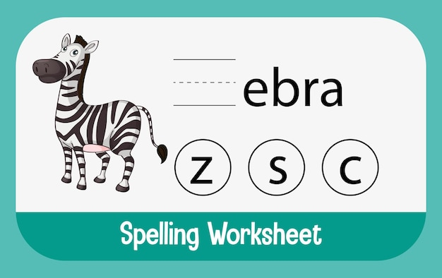 Find missing letter with zebra Free Vector