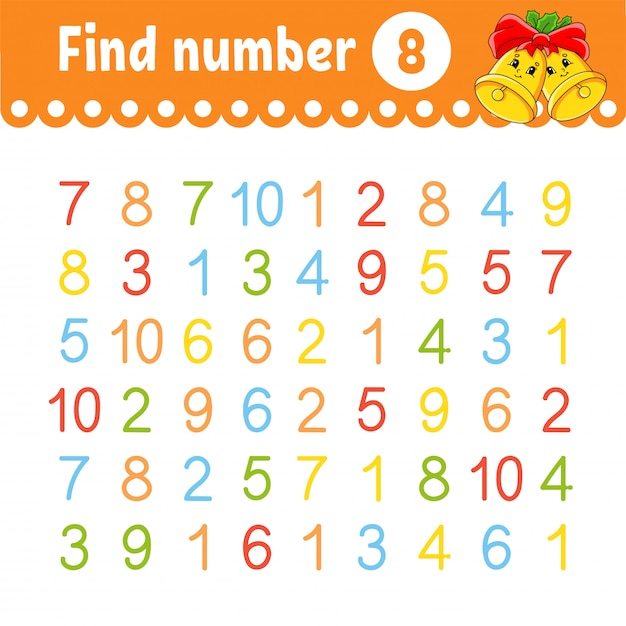 Find number. education developing worksheet. activity page with pictures. Premium Vector