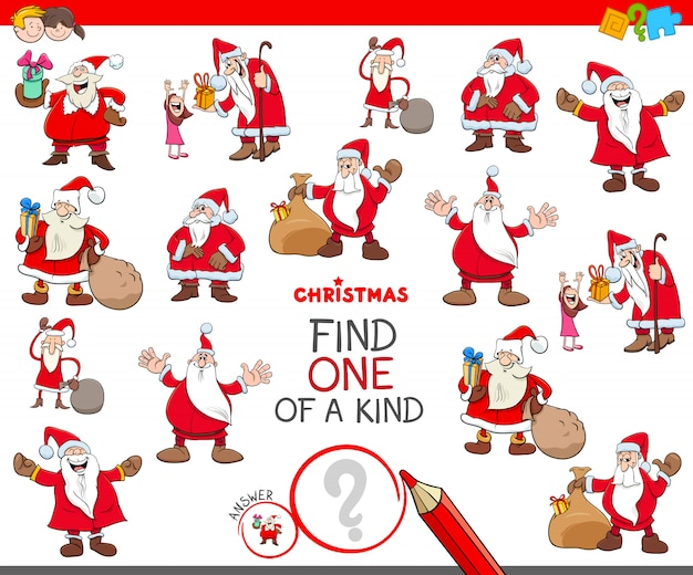 Find one of a kind educational game with santa Premium Vector