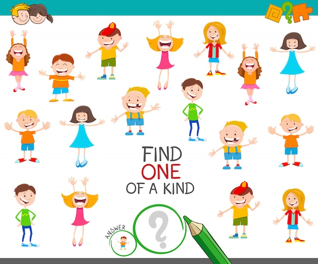 Find one of a kind game with childrens Premium Vector
