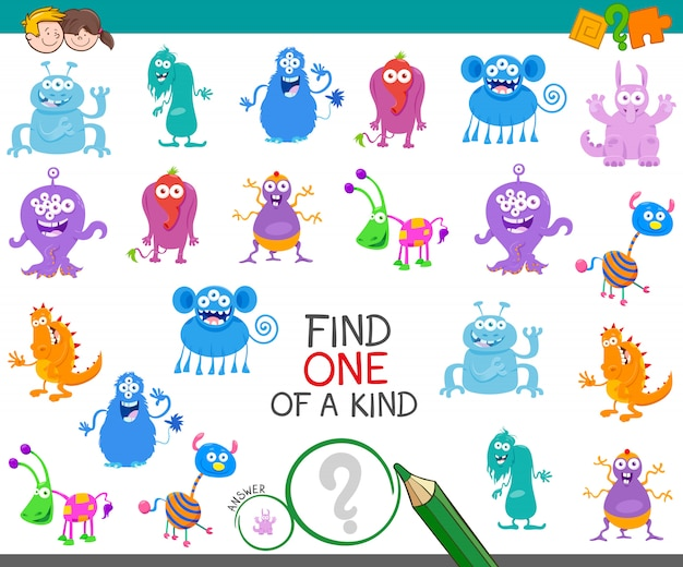 Find one monster of a kind game Premium Vector