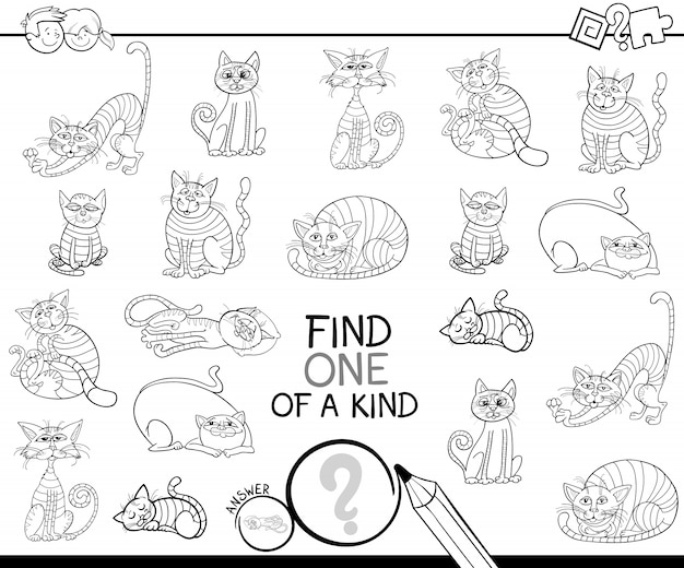 Find One Of A Kind Game With Cats Coloring Book Vector Premium