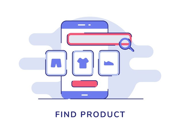 Find product concept magnifier clothe on display smartphone screen white isolated background Premium Vector