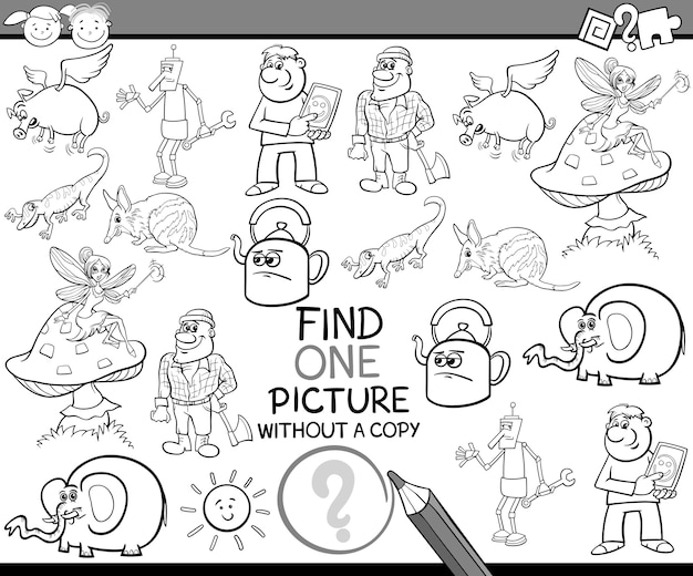 Find single picture game cartoon Premium Vector