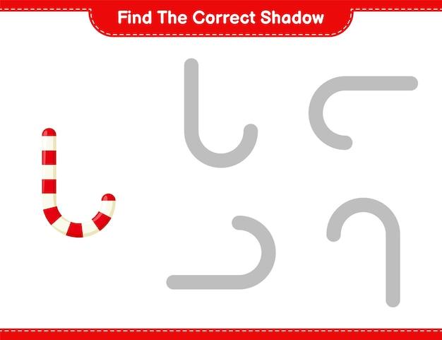 Найдите правильную тень. найдите и сопоставьте правильную тень candy canes. развивающая детская игра Premium векторы