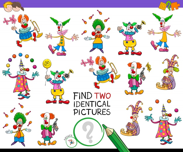 Find two identical clowns game for kids Premium Vector
