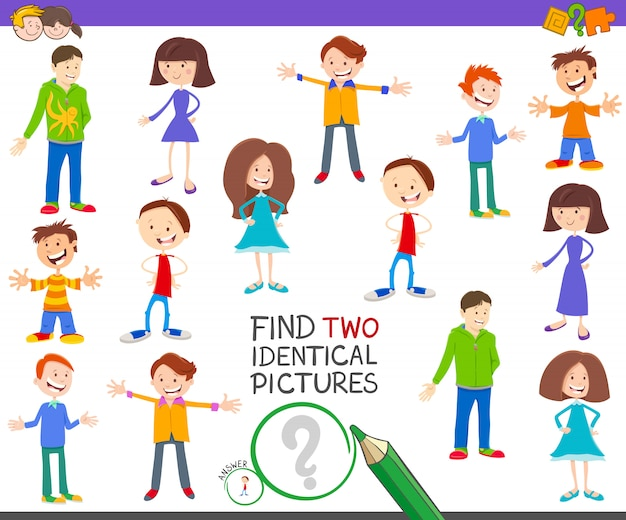 Find two identical pictures educational game for kids Premium Vector