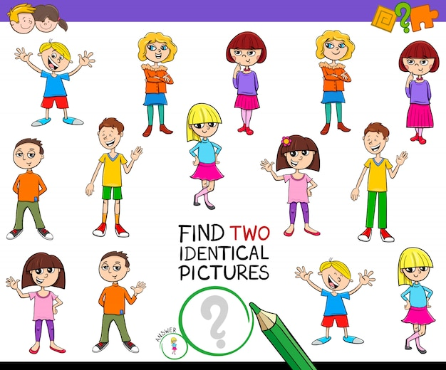 Find two identical pictures game with kids Premium Vector