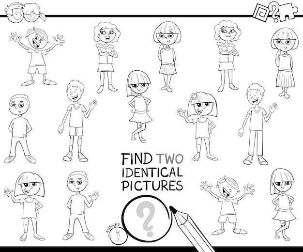 Find two identical pictures with kids color book Premium Vector