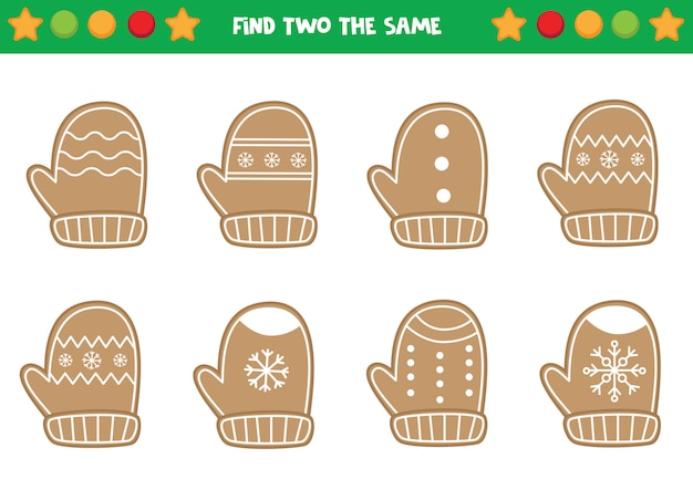 Find two the same christmas wreaths. educational worksheet for preschool kids Premium Vector