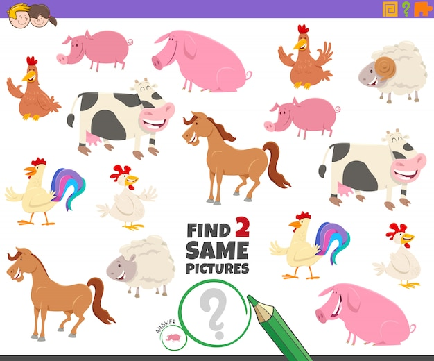 Find two same farm animal characters game for kids Premium Vector