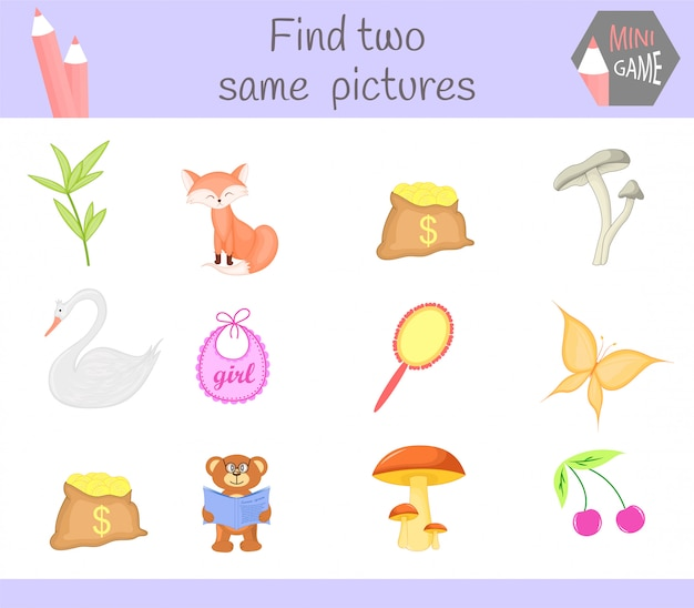 Find two same pictures Premium Vector